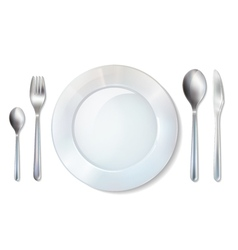 Plate And Cutlery Realistic Set Image vector image vector image