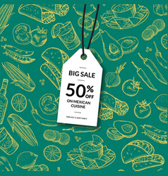 sale tag mexican food vector image vector image