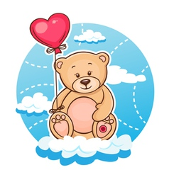 valentine teddy with balloon vector image vector image