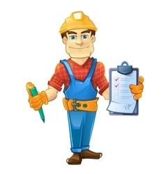 builder in helmet standing and holding order paper vector image