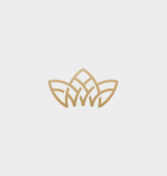 crown flower lotus logo premium house spa vector image vector image