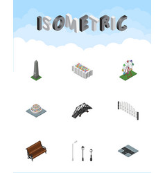 isometric architecture set of plants expressway vector image vector image