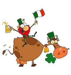 Lucky Leprechaun Sitting On A Cow With Beer vector image