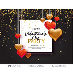 red and golden 3d hearts and greeting text vector image