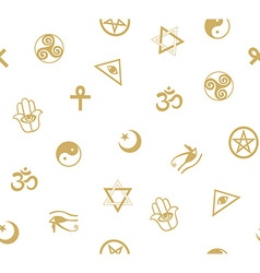 Seamless pattern with ancient sacral symbols vector image