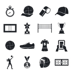 Volleyball icons set Cup silhouette playing vector image
