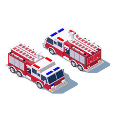 3d isometric fire truck for fire extinguishing vector image