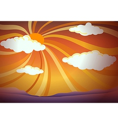 A sunset view with clouds vector