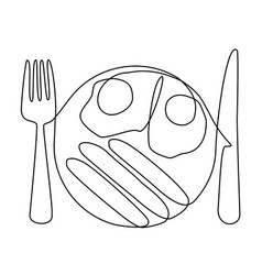 abstract meal with one line eggs vector image