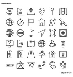 address outline icons perfect pixel vector image