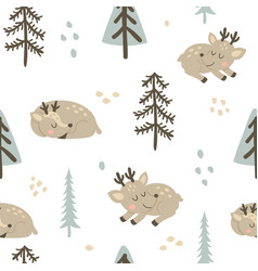 adorable deers pattern vector image