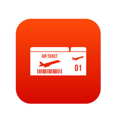airline boarding pass icon digital red vector image