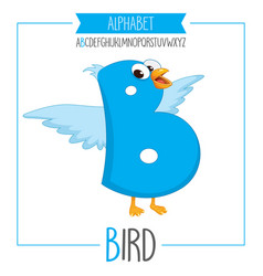 Alphabet letter b and bird vector