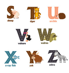 Alphabet with animals s to z vector