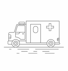 Ambulance car line icon vector