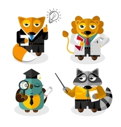 Animal professions cartoon characters set vector