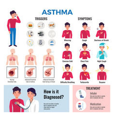 asthma infographic elements set vector image