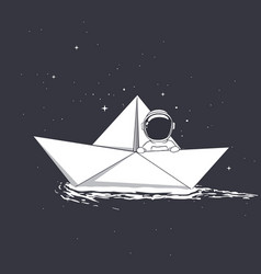 astronaut travel on paper boat vector image
