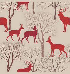 Autumn forest tile pattern animal deer trees vector