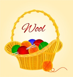 Ball of wool in basket homemade knitting vector image
