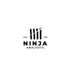 Bamboo sword ninja logo design vector