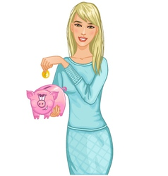 Beautiful woman putting coin in cute piggy bank e vector
