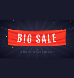 big sale red flag ribbon discount sale banner vector image