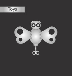 Black and white style toy butterfly vector