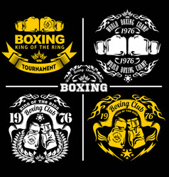 boxing club labels emblems badges set boxing vector image