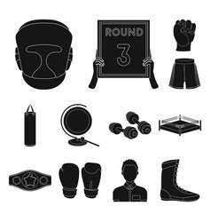 Boxing extreme sports black icons in set vector