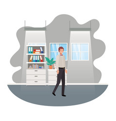 businessman in work office avatar character vector image