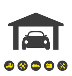 Car garage icon on white background vector