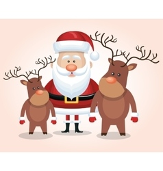 card santa claus reindeer isolated graphic vector image