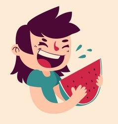 Cartoon Girl Eating Watermelon vector image