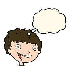 cartoon laughing boy with thought bubble vector image vector image