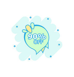 cartoon sale 90 banner icon in comic style badge vector image
