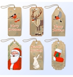 collection of six cute christmas gift tags vector image