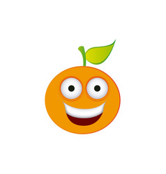 Color kawaii fruit orange happy icon vector