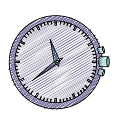 Color pencil graphic purple clock without bracelet vector