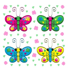 Cute cartoon butterflies and flowers vector