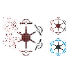 Disintegrating pixel halftone flying hexacopter vector