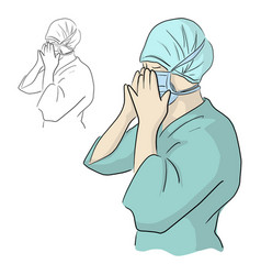 Doctor wearing surgical mask with protective head vector