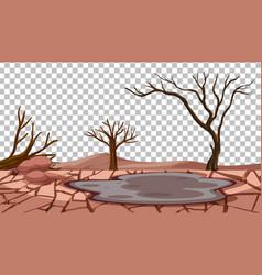 Dry cracked land landscape on transparent vector