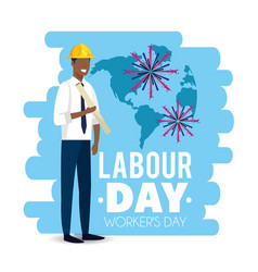Elegant man builder to labour day vector