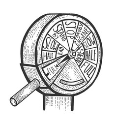 Engine order telegraph sketch engraving vector