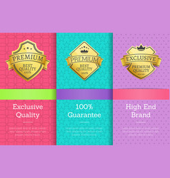 Exclusive quality 100 guarantee high brand labels vector