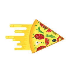 fast pizza piece vector image