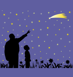 Father showing shooting star to his amazed child vector