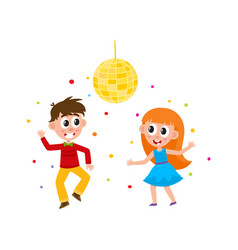 Flat boy and girl dancing at party vector
