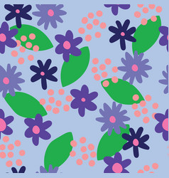 flat colour blue flowers seamless pattern vector image